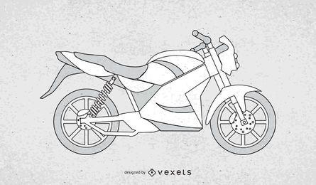 Vetor preto e branco da motocicleta