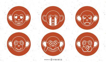 Affe-Vektor-Icons Pack