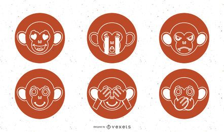 Monkey Vector Icons Pack