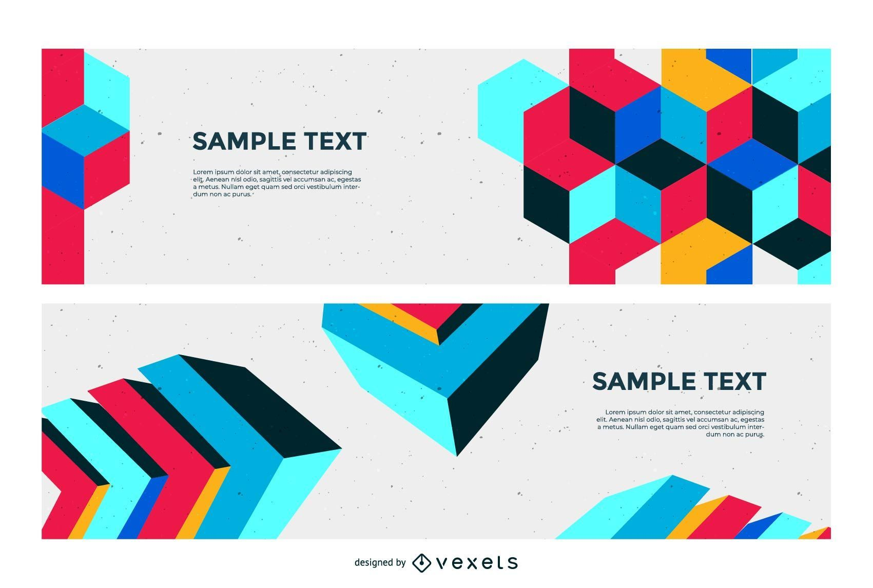 Abstract Colorful Cubic Banners