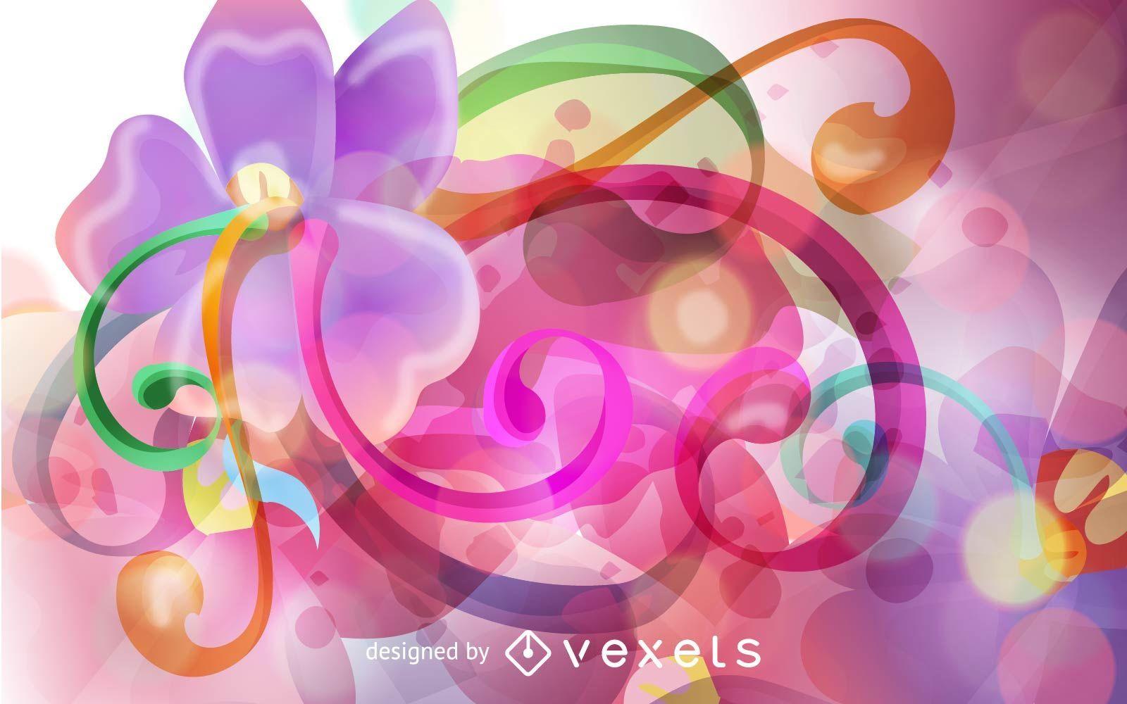Ilustración de vector de ornamento floral