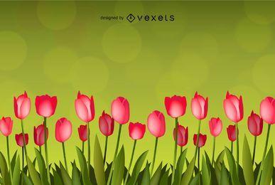 Flor com Fundo Verde Arte vetorial