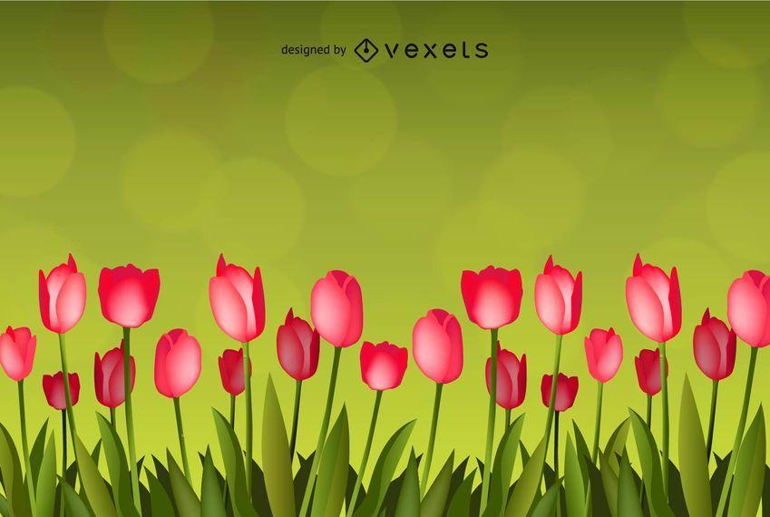 Flor con fondo verde arte vectorial