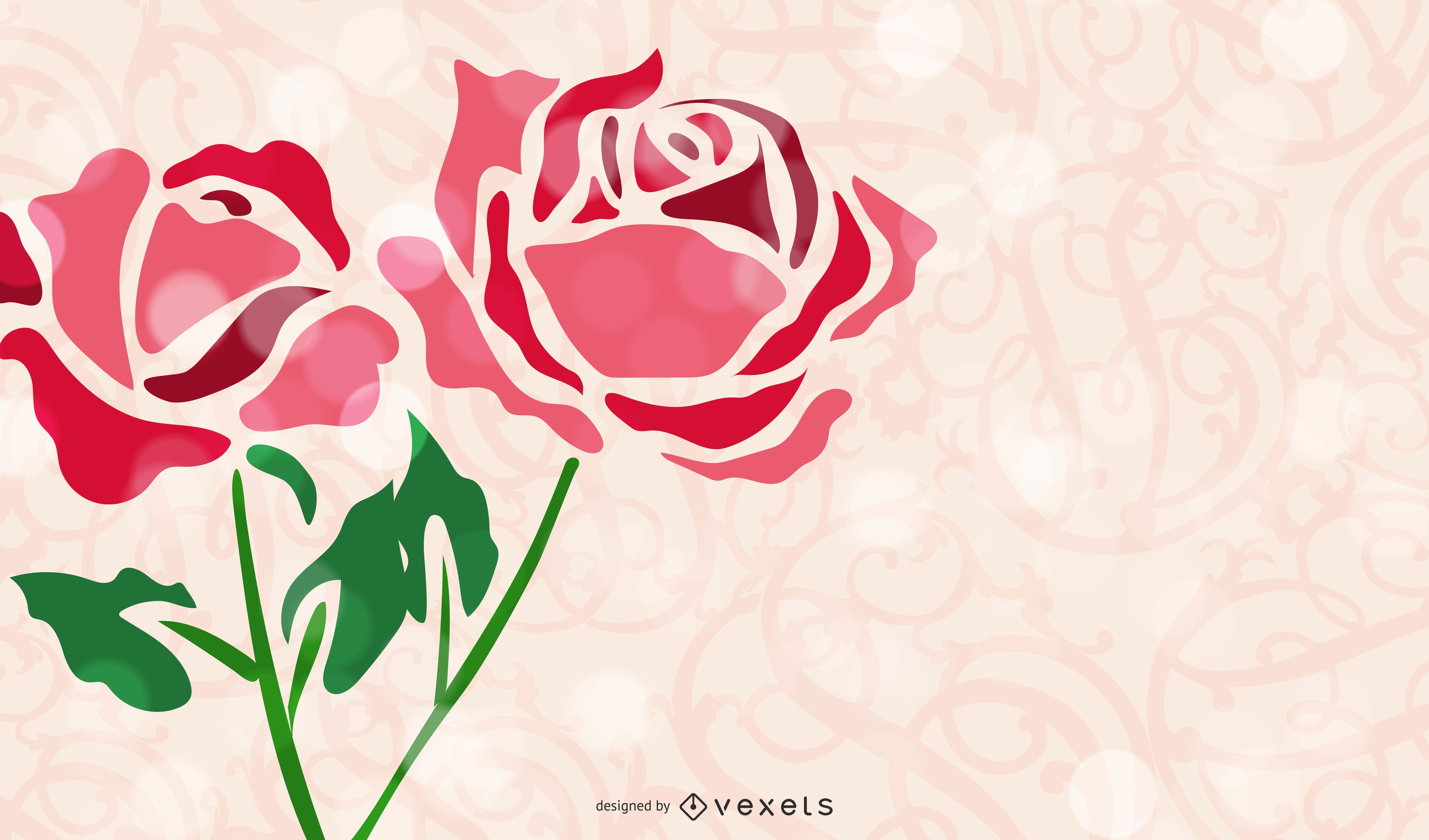 Gráfico vectorial de flor abstracta