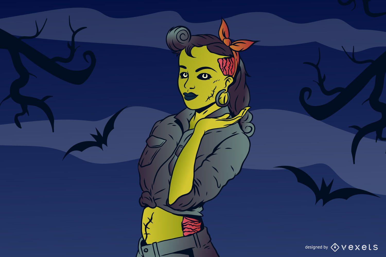 Ilustração Zombie Pin Up Girl