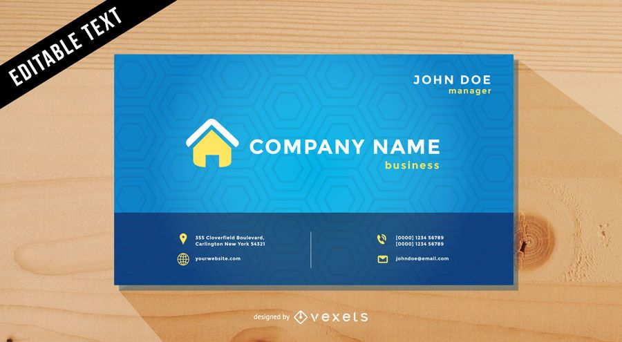 Cool Blue Vector Business Card Template