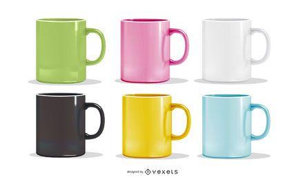 Vector conjunto de coloridas tazas realistas