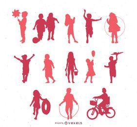 Vector siluetas de niños