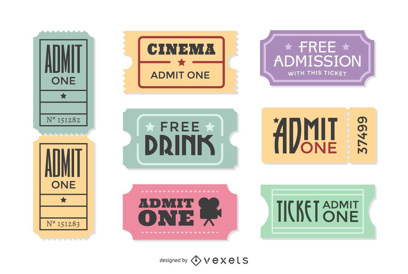 Vintage Movie Ticket Vector Set