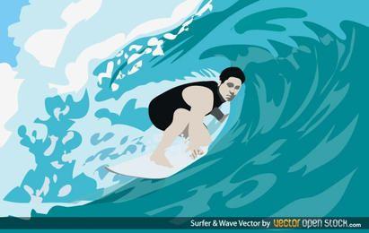 Surfista y ola