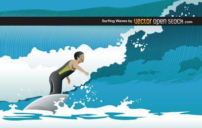 Mann, der Wellen surft