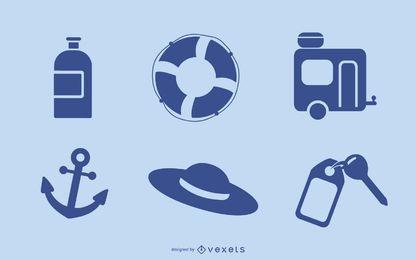 Iconos de Vista de verano de vector azul