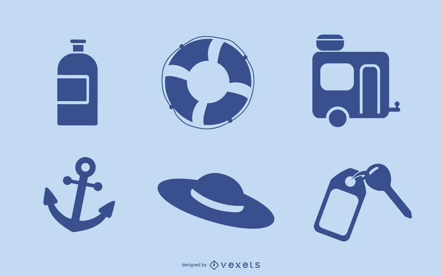 Blue Vector Summer Vista Icons