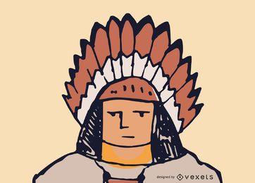 Vetor de rosto nativo americano