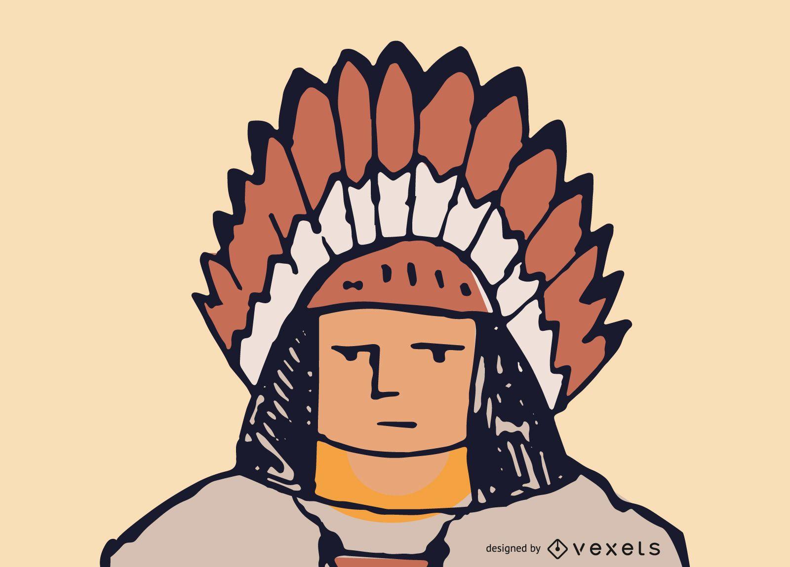 Vector de rostro nativo americano