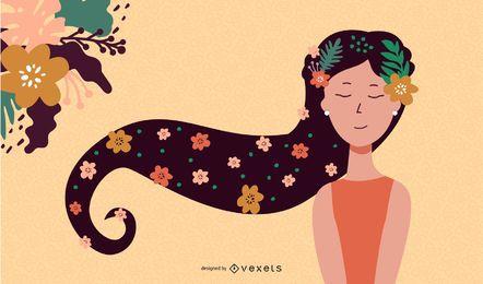 Chica con el pelo negro Vector