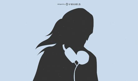 Niña con auriculares silueta