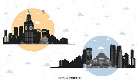 Conjunto de ilustrações de paisagens urbanas