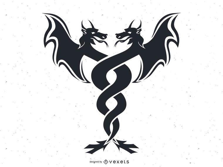 Dragón gemelos vector