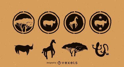 Pacote de vetores da silhueta da África