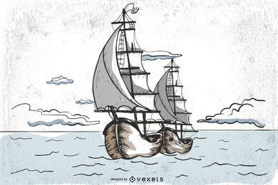 Navio pirata de vetor