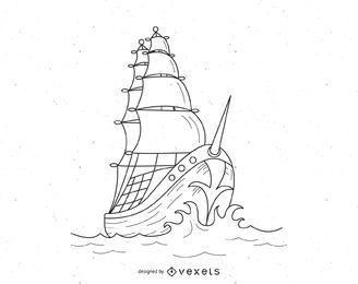 Vector barco pirata