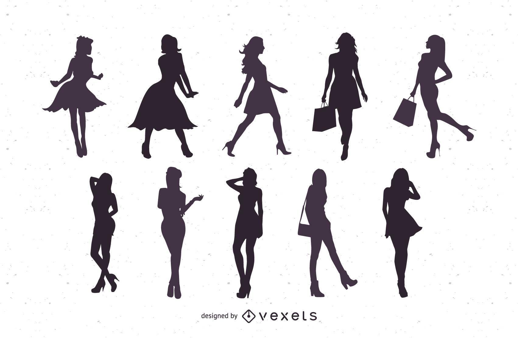 Silhuetas de mulheres bonitas em formato vetorial