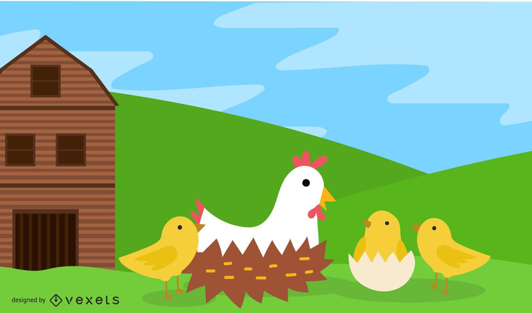 Granja con gallinas y pollitos.