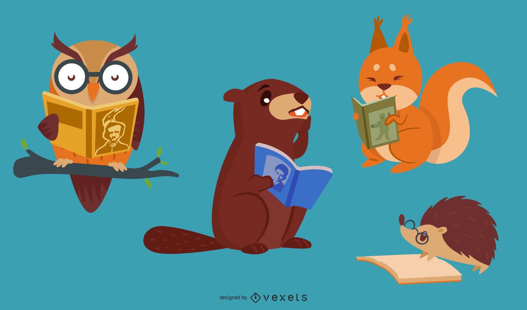Animais lendo livros