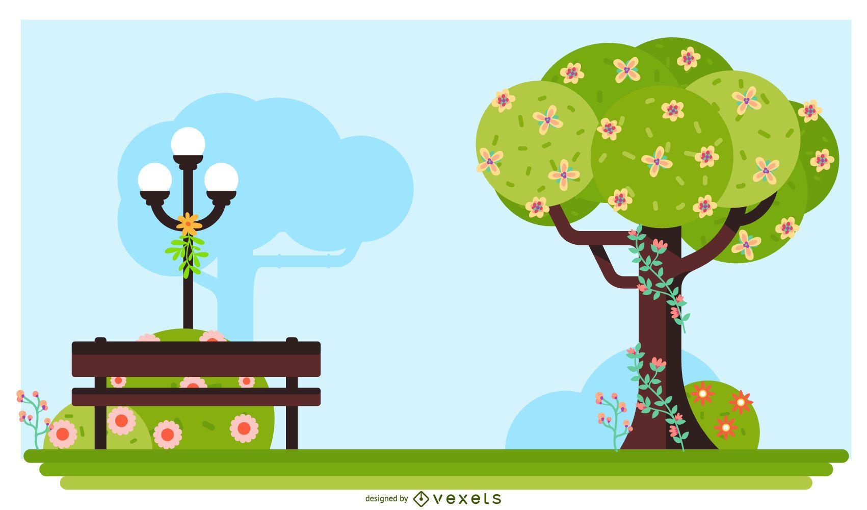 Spring park illustration design
