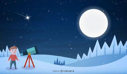 Mirando a la luna en una colina