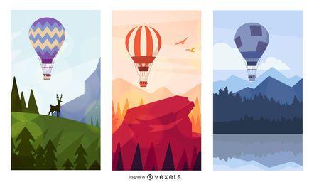 Conjunto de paisajes de globo de aire caliente