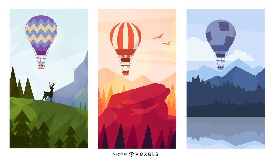 Conjunto de cenário de balão de ar quente