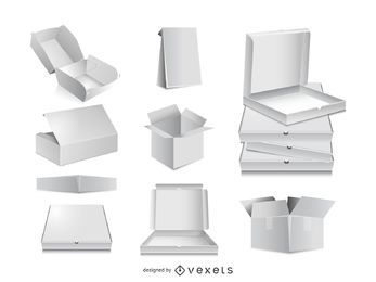 3D Packaging Box Vector Mockups