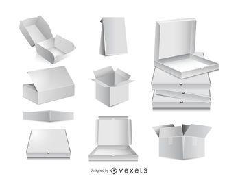 Plantillas de vector de caja de embalaje 3D para su diseño