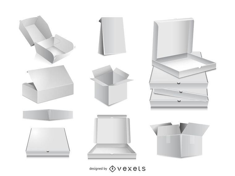 Mockups de vetor de caixa de embalagem 3D