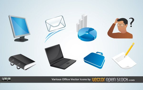 Varios iconos de vector de oficina