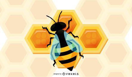 3D Biene und Bienenwabe