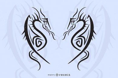 Vetor de tatuagem de dragão