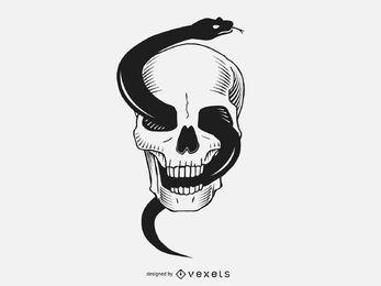 Schädel mit schwarzer Schlange