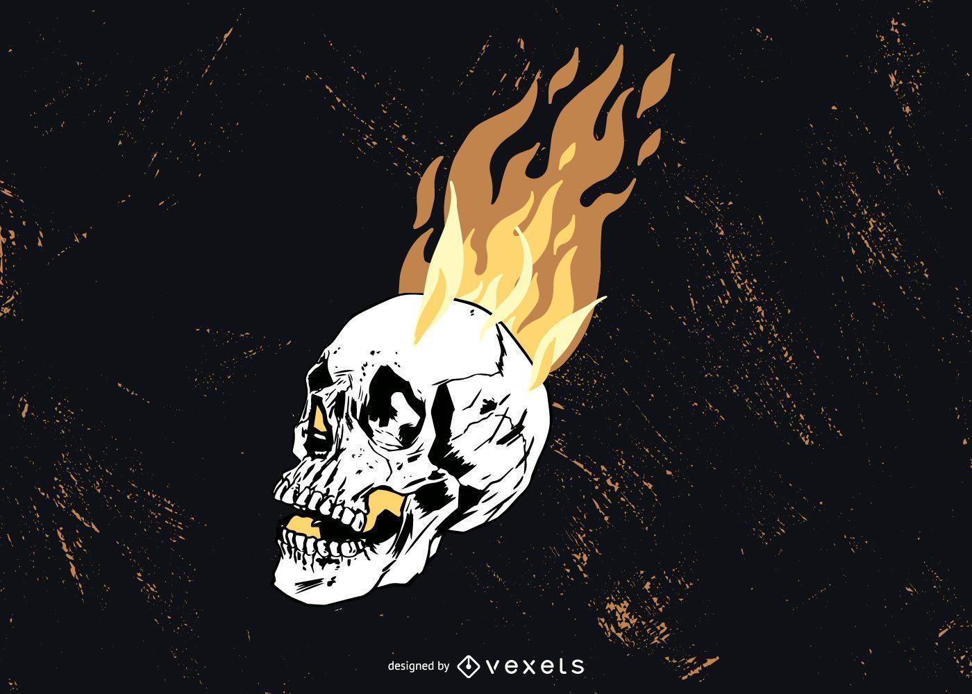 Skull On Fire Vector