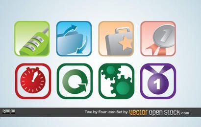 Conjunto de dois por quatro ícones