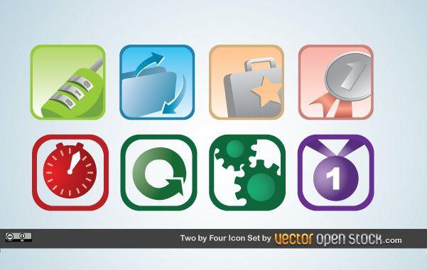 Conjunto de iconos de dos por cuatro