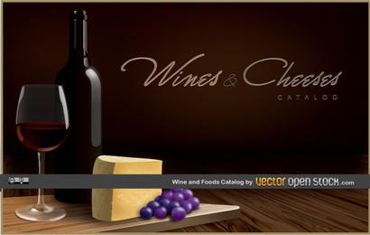 Catálogo de vinos y quesos.