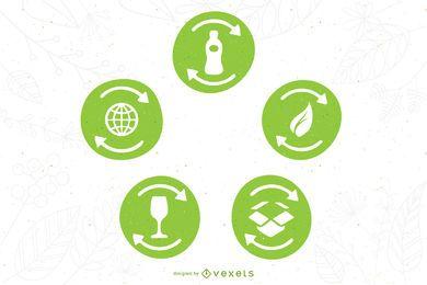 Conjunto de símbolos de reciclaje de vectores