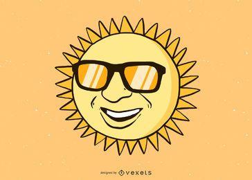 Sol con gafas vector