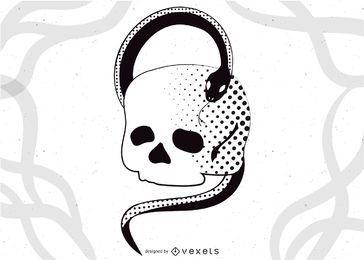 Cráneo con el vector de la serpiente
