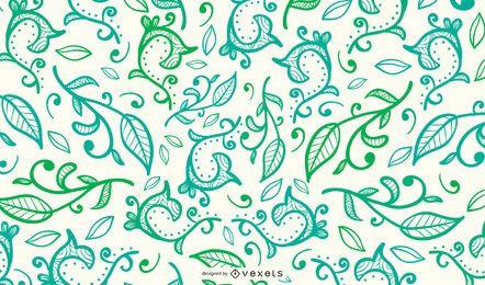 Diseño de fondo de hojas verdes y remolinos