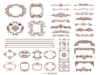Retro Design-Elemente-Sammlung