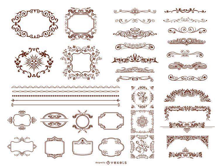 Colección de elementos de diseño retro